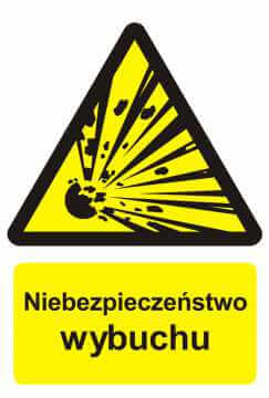 Znak przeciwpożarowy Niebezpieczeństwo wybuchu - materiały wybuchowe 2