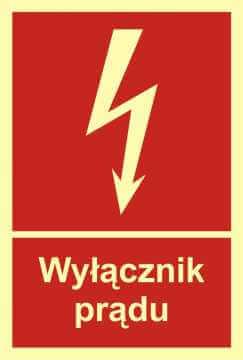 Znak przeciwpożarowy Wyłącznik prądu
