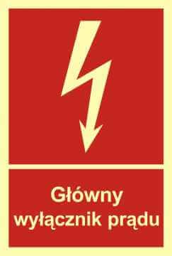 Znak przeciwpożarowy Główny wyłącznik prądu