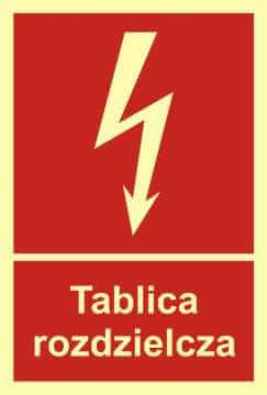 Znak przeciwpożarowy Tablica rozdzielcza