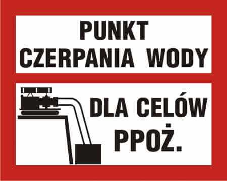 Znak przeciwpożarowy Punkt czerpania wody dla celów ppoż.