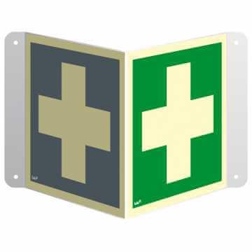 Znak 3D pierwsza pomoc medyczna przestrzenny