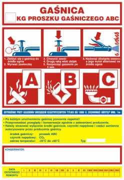 Gaśnica .....kg proszku gaśniczego ABC - ogólna nalepka na gaśnice