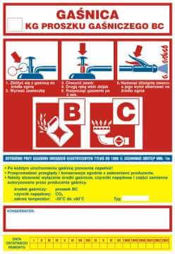 Gaśnica .....kg proszku gaśniczego BC - ogólna nalepka na gaśnice