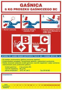 Naklejka na gaśnicę - gaśnica 6 kg proszku gaśniczego BC 2