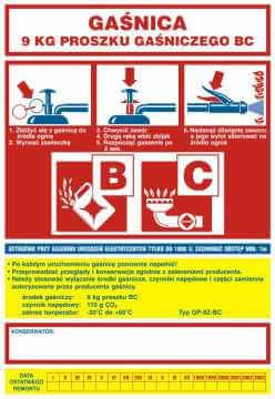 Naklejka na gaśnicę - gaśnica 9 kg proszku gaśniczego BC