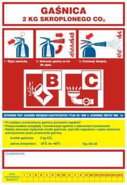 Naklejka na gaśnicę - gaśnica 2 kg skroplonego CO2 BC