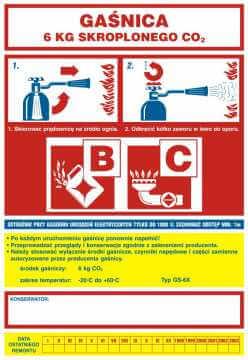 Naklejka na gaśnicę - gaśnica 6 kg skroplonego CO2 BC