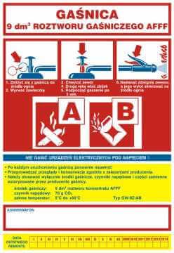 Naklejka na gaśnicę - gaśnica 9 dm3 roztworu gaśniczego AB