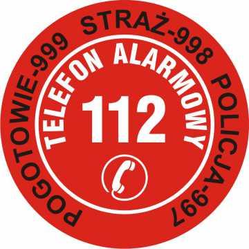Nalepka na telefon - telefony alarmowe