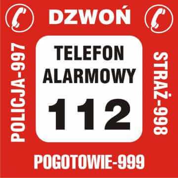 Nalepka na telefon - telefony alarmowe 2