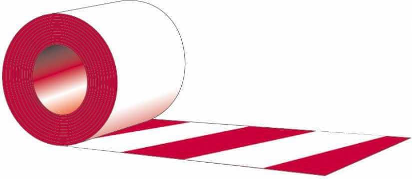 Taśma samoprzylepna na podłogę biało - czerwona