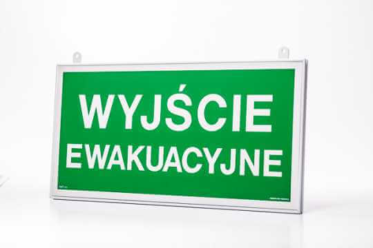 Znak ewakuacyjny Ramka na znak podwieszana dwustronna 20 x 40 cm