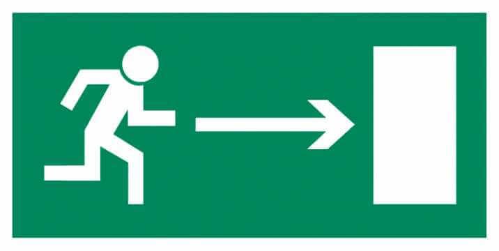 Znak Piktogram na lampę - Kierunek do wyjścia drogi ewakuacyjnej w prawo