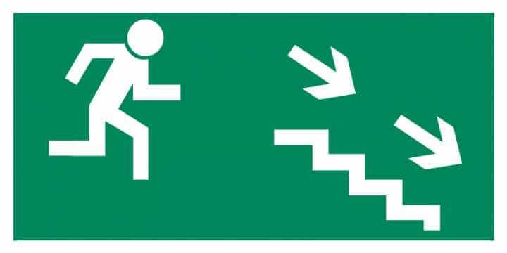 Znak Piktogram na lampę - Kierunek do wyjścia drogi ewakuacyjnej schodami w dół w prawo
