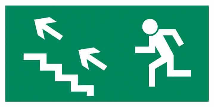 Znak Piktogram na lampę - Kierunek do wyjścia drogi ewakuacyjnej schodami w górę w lewo