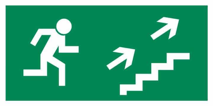 Znak Piktogram na lampę - Kierunek do wyjścia drogi ewakuacyjnej schodami w górę w prawo