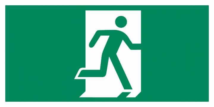 Znak Piktogram na lampę - Drzwi ewakuacyjne (w prawo)