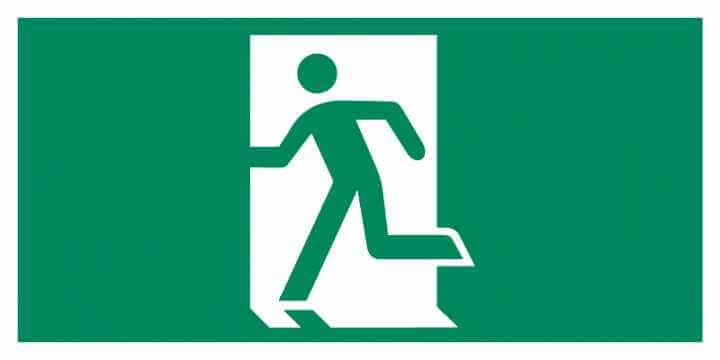 Znak Piktogram na lampę - Drzwi ewakuacyjne (w lewo)