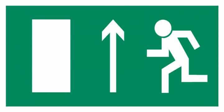 Znak Piktogram na lampę - Kierunek do wyjścia drogi ewakuacyjnej w górę