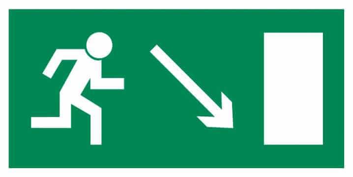 Znak Piktogram na lampę - Kierunek do wyjścia drogi ewakuacyjnej w dół w prawo