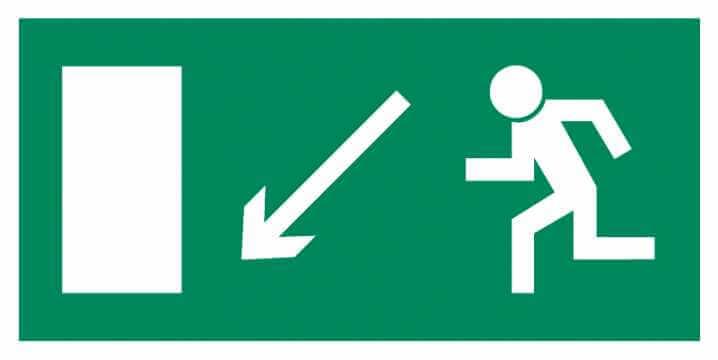 Znak Piktogram na lampę - Kierunek do wyjścia drogi ewakuacyjnej w dół w lewo
