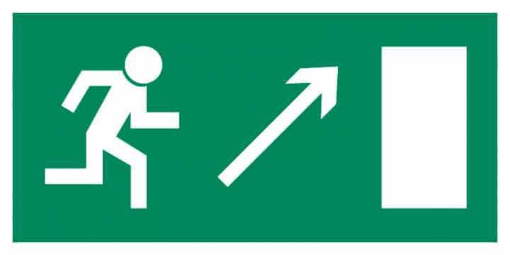 Znak Piktogram na lampę - Kierunek do wyjścia drogi ewakuacyjnej w górę w prawo