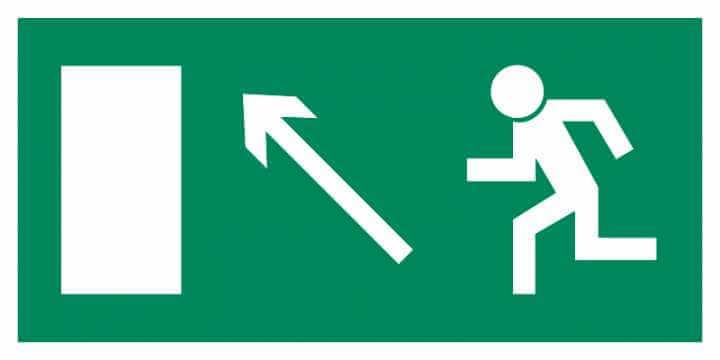 Znak Piktogram na lampę - Kierunek do wyjścia drogi ewakuacyjnej w górę w lewo