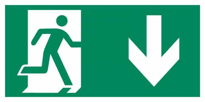 Znak Piktogram na lampę - Kierunek do drzwi ewakuacyjnych w dół