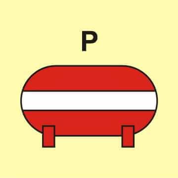Zamocowana instalacja gaśnicza (P - proszek)