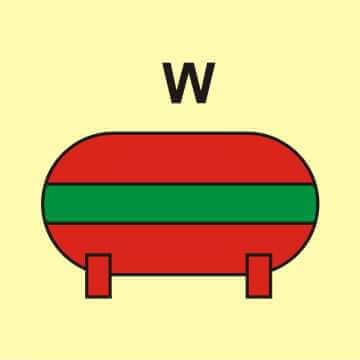 Zamocowana instalacja gaśnicza (W - woda)