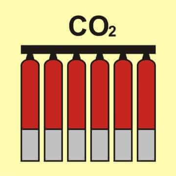 Zamocowana bateria gaśnicza (CO2 - dwutlenek węgla)