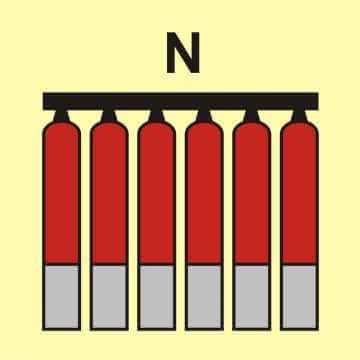 Zamocowana bateria gaśnicza (N - azot)
