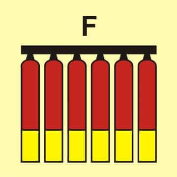 Zamocowana bateria gaśnicza (F - piana)