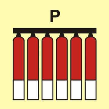 Zamocowana bateria gaśnicza (P - proszek)