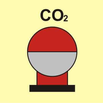 Zamocowana butla gaśnicza umieszczona w zabezp. (CO2)
