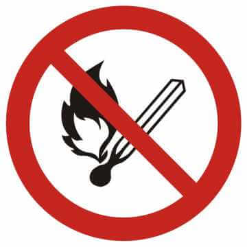 Zakaz używania otwartego ognia, zakaz palenia tytoniu