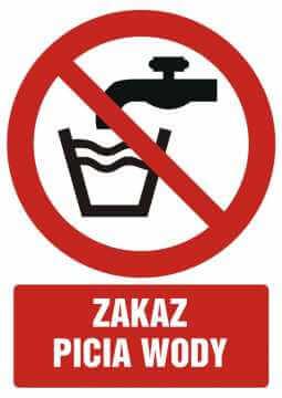 Zakaz picia wody z opisem