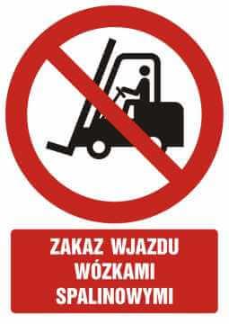 Zakaz wjazdu wózkami spalinowymi z opisem