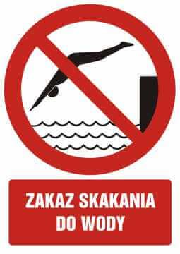 Zakaz skakania do wody z opisem