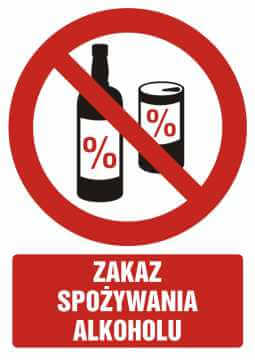 Zakaz spożywania alkoholu z opisem