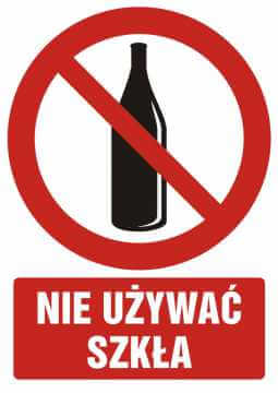 Zakaz używania szkła z opisem