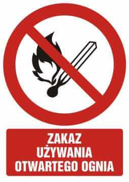 Zakaz używania otwartego ognia z opisem