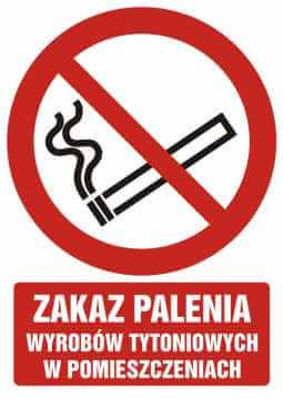 Zakaz palenia wyrobów tytoniowych w pomieszczeniach z opisem