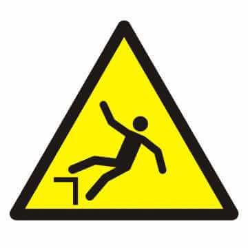 Znak Ostrzeżenie przed spadnięciem (upadkiem)