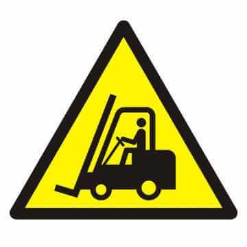 Znak Ostrzeżenie przed urządzeniami do transportu poziomego