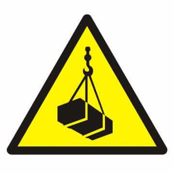 Znak Ostrzeżenie przed wiszącymi przedmiotami (wiszącym ciężarem)