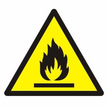 Znak Ostrzeżenie przed substancjami łatwopalnymi