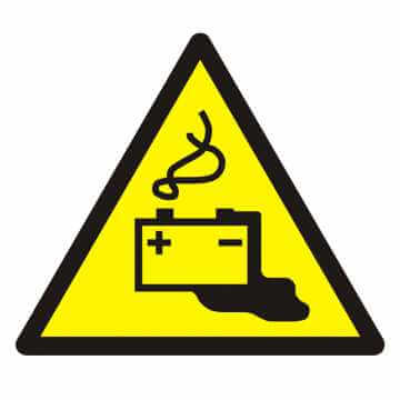 Znak Ostrzeżenie przed ładowaniem baterii