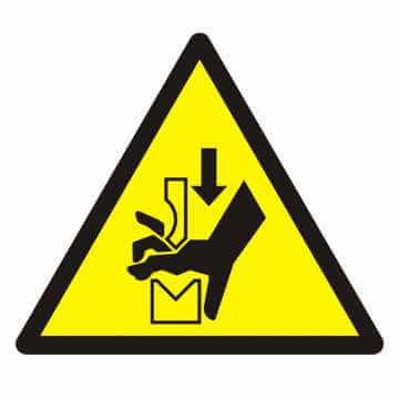 Znak Ostrzeżenie przed zgnieceniem dłoni między prasą i stopą